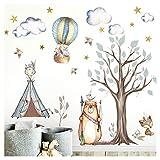 Little Deco Aufkleber Indianer Waldtiere I Wandbild L - 114 x 107 cm (BxH) I Zelt Sterne Wandsticker Kinder Wandtattoo Kinderzimmer Baby Deko Babyzimmer DL305