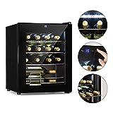 Klarstein Shiraz Weinkühlschrank - Volumen: 42 Liter, Temperaturen: 5-18 °C, Platz für 16 Flaschen Wein, Energieeffiezienzklasse A, Soft-Touch-Bedienfeld, 3 Regaleinschübe, freistehend, schwarz