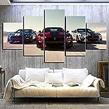 ZDFDC Große Leinwand Wandkunst Bilder Mustang Auto Poster Drucke Malerei auf Leinwand Moderne Wohnzimmer Wohnkultur 5 Stück-40x60 40x80 40x100 cm kein Rahmen