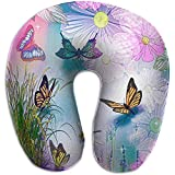 Nackenkissen,Abstraktes Bild des Verschiedenen Schmetterlings-U-Förmigen Kissen-Hals-Reise-Kissen-Gedächtnis-Schaums Waschbar Für Flugzeug-Reise-Rest
