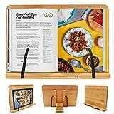Kurtzy Bambus Kochbuchhalter mit Unterstützenden Klammern - Größe 33,5 cm x 24 cm - Leseständer mit 5 verstellbaren Neigungswinkeln - Buchhalter für Kochbuch, Rezept, iPad, Tablet und Musiknoten