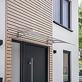 Schulte V1117-20-21 Style Plus Pultbogenvordach, 160 x 90 cm, 3 mm Polycarbonat-Abdeckung klar, Wandhalter Classic Edelstahl V2A, Vordach mit Alu-Regenrinne