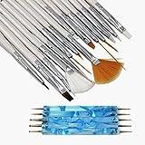 Nagel Kunst Pinsel, Deesospro® 20 Stück Nagel Malerei design Punktierung Malen Zeichnen Polnisch Bürsten Feder Tools, UV-Gel, Acryl, Onestroke