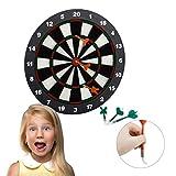 Relaxdays Dartscheibe 42 cm, Softdart Safety Darts, 6 Pfeile, kindgerecht, Standfuß Sicherheits-Dartboard, schwarz-weiß