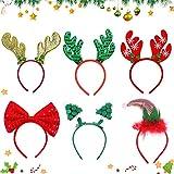 Sunshine smile 6 Stück Weihnachten Stirnbänder,Haarreifen Weihnachten,Stirnbänder Partyhüte,Weihnachts-Haarreifen,Weihnachten Haarband,Weihnachten Kopfbedeckung,Weihnachten Haarreif Rentier(A)