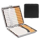 Yosemy 2X Zigarettenetui Metall Leder Schwarz Zigarettenbox Etui mit Gummiband und Schnappverschluss,Zigarettenzubehör Edel Elegant PU-Leder für 20 Zigaretten, Zigarettenetuis für Herren und Damen