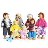 Playtee 7-köpfige Puppenfamilien Puppenhaus für Kinder Spiel Haus Geschenk Holz