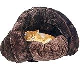 Kuschelhöhle für Katze Warmer Plüsch Katzenhöhle Softplüsch-Bezug Hundehöhle Warm Hundehaus für Hunde Indoor kuschelhaus-Kaffee