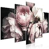 decomonkey Bilder Blumen 100x50 cm 5 Teilig Leinwandbilder Bild auf Leinwand Wandbild Kunstdruck Wanddeko Wand Wohnzimmer Wanddekoration Deko Rose Natur