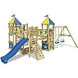 WICKEY Spielturm Smart Queen - Riesiges Klettergerüst mit Schaukel, Sandkasten, Kletterwänden und -leiter, Wackelbrücken, blauer Wellenrutsche und viel Spiel-Zubehör