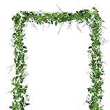 BELLE VOUS Künstliche Glyzinien Blumen Girlande (4 Stück) - 6.6 ft (200cm) Individuelle Reben, Fake Seide Wisteria Blumen Reben Girlande für Hochzeitsdeko, Gartenpartys, Zuhause Blumendeko (Weiß)