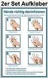 2 Stück 20 x 30 cm Aufkleber Hände desinfizieren - CEN EN 1500 - Folie selbstklebend - Anleitung Händedesinfektion - Hygiene Handdesinfektion
