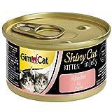 GimCat ShinyCat Kitten in Jelly Hühnchen - Nassfutter mit Fleisch und Taurin für junge Kätzchen - 24 Dosen (24 x 70 g)