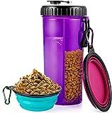 laamei Hunde Wasserflasche und Futterflasche 2-in-1 Trinkflasche mit 2 Silikon Hundenapf Faltbar Wassernapf, Haustier Faltbar Reisenäpfe für Unterwegs, Camping, Spaziergang (Lila)