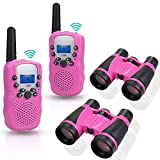 Anpro 2Stk Walkie Talkie Set mit 2Stk 5x30 Ferngläser, Kinder Funkgeräte 1-3KM Reichweite 8 Kanäle 2-Wege-Radio-Spielzeug mit Taschenlampe LCD Bildschirm Geschenk für Kinder, Rosa