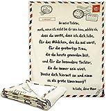 FCREW Deutsche Buchstaben Decke EIN Mein Sohn und Mein Tochter Super Weiche Decke Flanelldecke Winterwärme Weiche Postdecke für Schlafzimmer Wohnwärme Wohn Kuscheldecken (Mutter zu Tochter,150x200cm)
