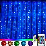 LED Lichtervorhang 3x3M 240 LEDs Lichterkette 16 Farben 4 Modi mit Fernbedienung & Timer für Weihnachten Partydekoration Geburstag Hochzeit Wohnzimmer Kinderzimmer