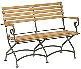 Dehner Klappbank Tegernsee 2-Sitzer, ca. 124 x 88 x 57 cm, FSC Akazienholz/Edelstahl, natur