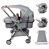 Sonnensegel für Kinderwagen Babywanne, Universal reißfester Sonnenschutz mit UV Schutz Beschichtung 50+ und Rollo-Funktion, flexibles Sonnenverdeck für Babys Sonnensegel, Grau