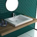 Garda Waschbecken 480x600, Kleines Handwaschbecken aus hochwertigem Mineralguss mit Überlauf   Mini Waschschale Gäste WC Eck Waschtisch Rechteckig  Alpenberger Design