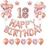 TAOHUIEU 18. Geburtstag Party-Dekoration mit Rose Gold Luftballons für Mädchen und Frauen, Geburtstag Dekorationen 18. mit Alles Gute zum Geburtstag Banner (49 STK)