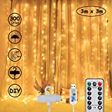 LED Lichtervorhang 3m x 3m, Lichterkette schlafzimm 300 LEDs USB Vorhanglichter String Light 8 Modi mit Fernbedienung Timer-Wasserfest, für Weihnachten, Innen und außen Deko,Warmweiß [Energieklasse A]