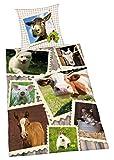 Herding Young Collection Bettwäsche-Set, Bauernhof Wendemotiv, Bettbezug 135 x 200 cm, Kopfkissenbezug 80 x 80 cm, Baumwolle/Renforcé