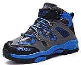 Kinder Wanderschuhe Jungen Wanderstiefel Mädchen Outdoor Trekking Schuhe rutschfeste Mid Trekkingstiefel für Unisex Herren Damen Blau EU 36-Etikett 37