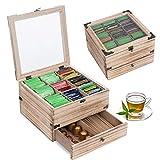 QILICZ Teebox, Tee Aufbewahrungsbox aus Holz mit 9 Trennfächern und Schublade - Teebeutelbox Teekiste für Teebeutel Zucker Kaffeekapsel, Vintage Vorratsdose mit großem Netz Sichtfenster Deckel