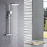 Auralum Duscharmatur Thermostat Regendusche, duschset regendusche mit armatur, Kopfbrause und 3 Strahlarten Handbrause. Für Badezimmer
