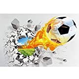 Demarkt 3D Wandsticker Fussball Wandtattoo Wandbilder Aufkleber 3D Wandaufkleber Wandtattoo Schlafzimmer Wandsticker Wand PVC 50 * 70cm