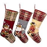 Toyvian Weihnachtsstrümpfe, 48,3 cm, 3 Stück, Weihnachtsmann, Schneemann, Rentier, 3D-Plüsch mit Kunstfell-Manschette, Weihnachtsdekoration und Partyzubehör