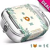 FOXBOXX® Brotdose Edelstahl Premium | Auslaufsicher mit 2 Fächer - plastikfrei nachhaltig | Lunch-Box Brot-Box Vesper-dose Brotbüchse Brotzeit-Box Bento | Kind Schule Kindergarten | Mini 800ml