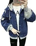 Minetom Damen Mädchen Beiläufig Stilvoll Bestickt Rose Gewaschene Jeans Denim Jeansjacke Jacket Oberbekleidung Coats Mantel C Dunkelblau DE 38