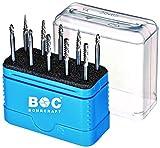 Bohrcraft 59001330014 KF10 HM Kleinfrässtifte mit 3,0 mm Schaft und Kreuzverzahnung, Silber, blau
