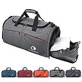 CANWAY Faltbare Sporttasche Faltbare Reisetasche mit dem schmutzigen Fach und Schuhfach Leichtgewicht für Männer und Frauen (Grau)