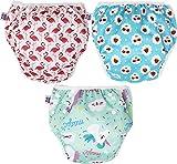 PINK & BLUE 3-teilig Schwimmwindel Schwimmhose Baby und wiederverwendbar Badehose für Jungen und Mädchen (7-20,5 kg) umweltfreundlich schonend für das Fell (Einhorn, Medium)