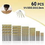 Spiralbohrer MOHOO 60pcs Bohrer 1/1,5/2/2,5/3/3.5 mm Metallbohrer HSS Stahlbohrer Satz für Holz Kunststoff und Aluminium Kupfer Stahl