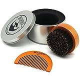 BEARDED BEN Bartbürste mit Wildschweinborsten in hochwertiger Aufbewahrungsbox/Geschenkbox, inkl. Bartkamm, Teakbraun, Durchmesser: 6.3 cm