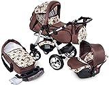 GaGaDumi Urbano Kombikinderwagen Kinderwagen Babyschale 3in1 System Autositz (U2-Old Forest)