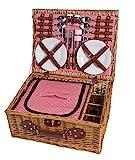 eGenuss LY12041 Handgefertigtes Picknickkorb für 4 Personen mit Kühlfach - Inklusive Edelstahlbesteck, Kühlfach, Weingläser und Keramikteller - Rotes Gingham-Muster 47x34x20 cm