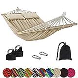 BB Sport Stabhängematte CIBAO inkl. 2 Kissen Liegefläche 240 x 150 cm in vielen Farben Traglast 300 kg für 2 Personen, Farbe:Beach