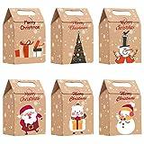 Geschenktüten Weihnachten 24, Klein Braun Kraftpapiertüten Papiertüten Geschenkboxen mit 6 Muster, Weihnachtstüten Adventskalender zum Befüllen Partytüten Papier Mitgebsel Tüten für Geschenkverpackung