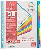 Exacompta 3812E Packung mit Register Campus, robust aus PP, für DIN A4+, mit 12 taben und Indexseite, 1 Pack, farbig sortiert