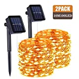 Sooair Solar Lichterkette Aussen, 2 Stück 10M 100 LED Lichterkette Außen, 8 Modi Wasserdicht Kupferdraht Weihnachtsbaum Lichterkette für Garten, Balkon, Terrasse, Hochzeit, Warmweiß Lichterkette