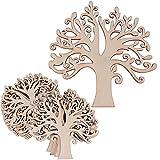 20 Stk Holz Lebensbaum Verzierungen Anhänger Deko zum basteln für DIY Handwerk Dekohänger Hochzeit Weihnachten