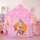 Kinderspielzelt Mädchen Prinzessin Zelt Innen mit Sternen & Draussen Castle Spielzelt Kinder Schloss Zelt mit 2 Modes Sternenlicht - Weihnachten, Geburtstag Geschenk für Kinder (Rosa)