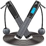 Springseil, Speed Rope Fitness& mit Digital Zähler, 360° Kugellager Cord &Cordless Modus, Länge Einstellbar 3M, Anti-Rutsch Griffe Stahl Seil mit PVC Ummantelung Seilspringen (Schwarz02)