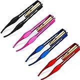 4 Stücke Pinzette mit Leichter LED Pinzette Edelstahl Makeup LED Licht Wimpern Augenbrauen Haarentfernung Leuchtende Beleuchtet Pinzette für Männer und Frauen