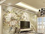 FOTOTAPETEN TAPETE WANDTAPETEN 3D MODERN GOLD SCHMUCK BLUMEN KN-1006 (XL 350x245 cm 7-Bahnen)